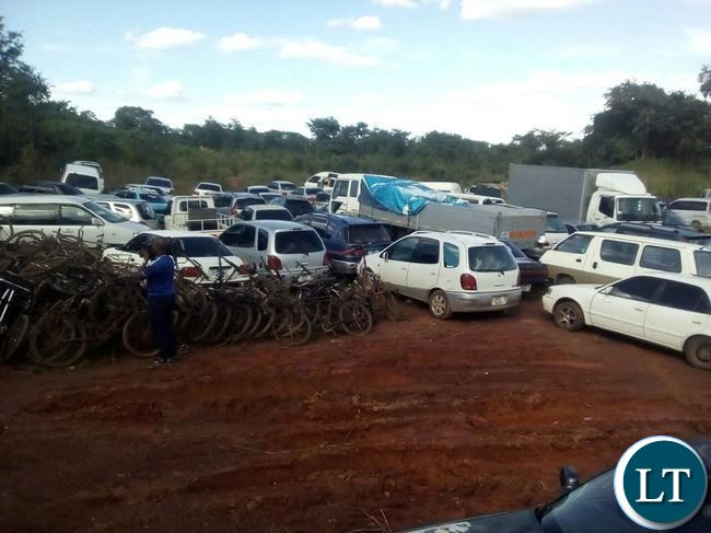 IMPOUNDED motor vehicles and bicycles used for mealie smuggling into the Democratic Republic of Congo being displayed at Kasumbalesa check point