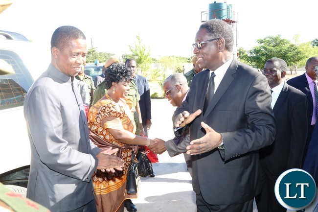 New Apostolic Church Area Apostle Ananyateli Muyunda welcomes President Edgar Lungu and the First Lady Esther Lungu shortly before Church Service in Mongu