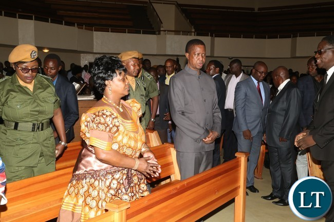 President Edgar Lungu and the First Lady Esther Lungu atttending the Church Service at New Apostolic Church Mongu Central