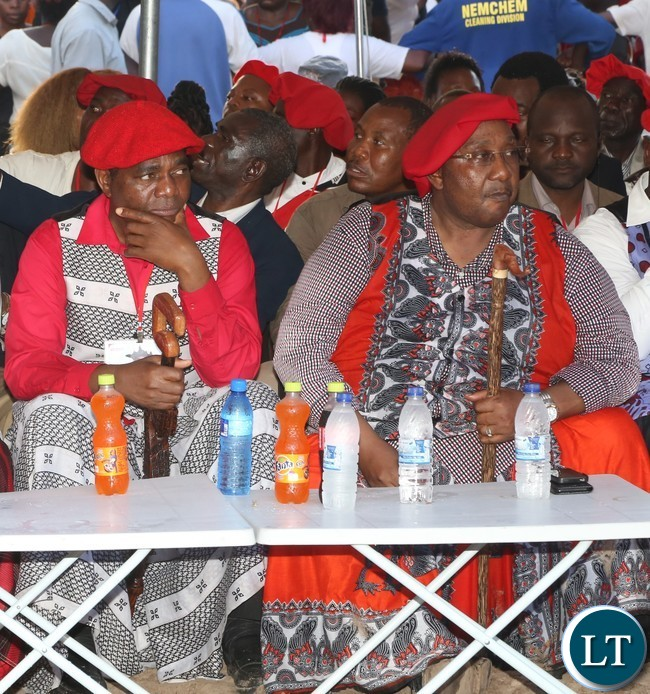UPND Leader Hakainda Hichilema and Godfrey Mwamba following the proceedings of the 2017 Kuomboka Ceremony yesterday 08-04-2017. Picture by ROYD SIBAJENE/ZANIS