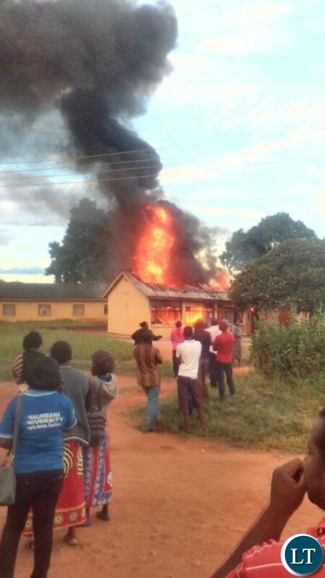 Chalimbana University up in flames