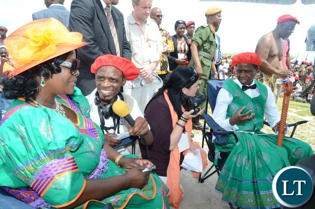 President Lungu with First Lady Esther Lungu during the Kuomboka traditional Ceremony in Mongu on Saturday,April 8,2017-Pictures by THOMAS NSAMA