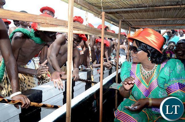 First Lady Esther Lungu during the Kuomboka traditional Ceremony in Mongu on Saturday,April 8,2017-Pictures by THOMAS NSAMA