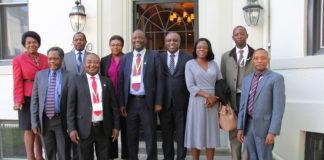 Minister of Water Development, Sanitation, and Environmental Protection Hon. Lloyd Kaziya with Zambian Embassy Staff in Washington