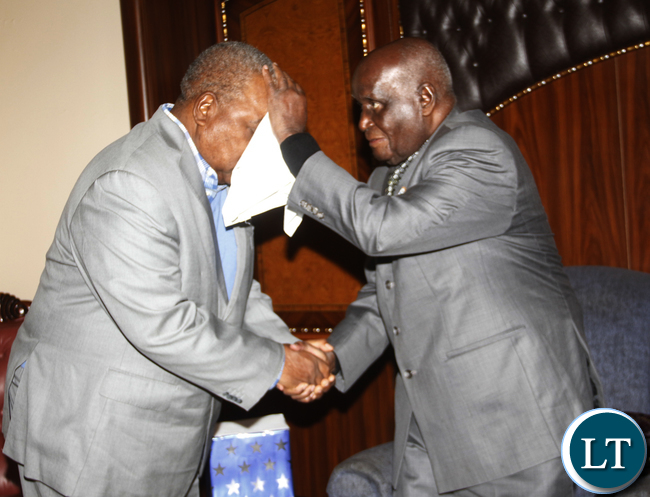 KK conferring with RB when the latter pays him a courtesy visit on the former 93rd birthday at his home in State lodge area.