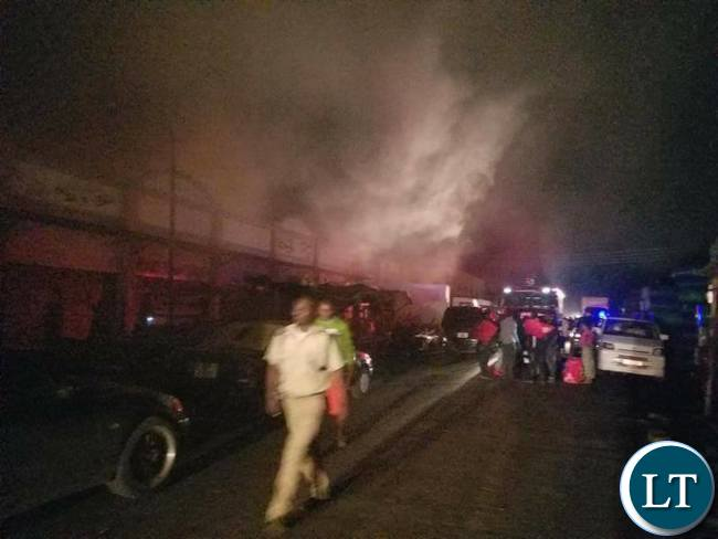 Part of Kamwala Market on fire