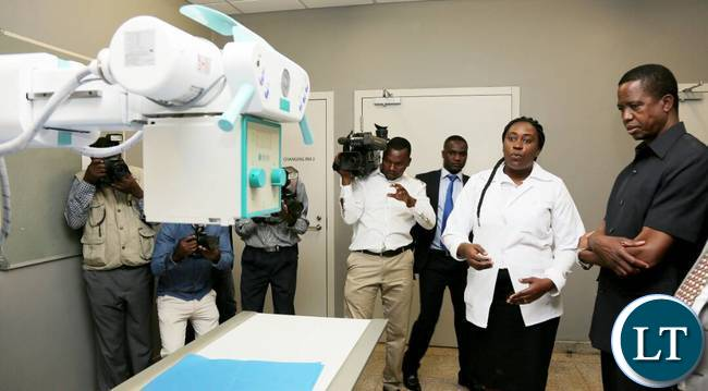 President Lungu inspecting some of the equipment at Chilenje Level 1 Hospita