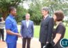 President Edgar Lungu congratulates Czech Republic Ambassador desegnet to Zambia Radek Rubes when he presented his credential at State House