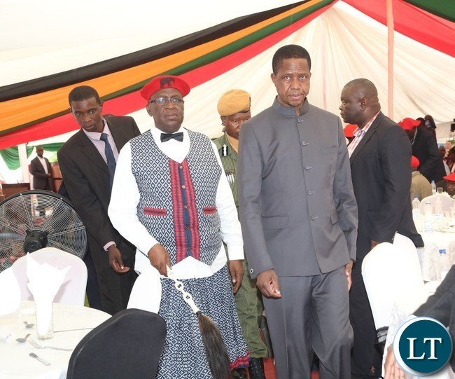 -President Edgar Lungu and the Litunga Lubosi Imwiko ii walk majestically the  baquet hall after BRE host launchon to President at Limulunga Royal Palace