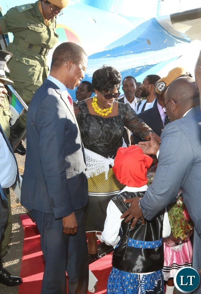 President Edgar Lungu and First Lady Esther Lungu arrives at Mongu Airport to come and celebrates Kuomboka Ceremony 2017
