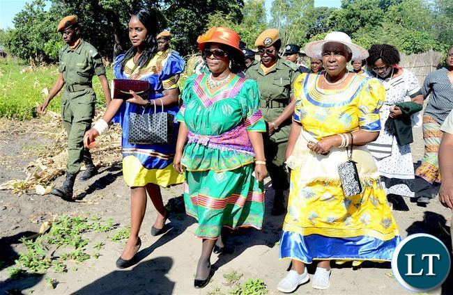 First Lady flanked by the Ngambela's wife (R)  during the Kuomboka traditional Ceremony in Mongu on Saturday, April 8,2017-Pictures by THOMAS NSAMA