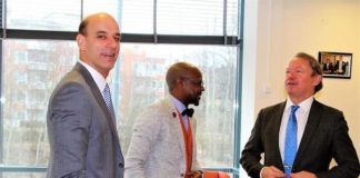 Mr Mukwita, the Charge d' Affaires at the embassy of Zambia in Sweden (L)