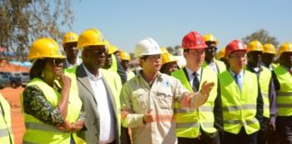 Minister of Commerce,Trade and Industry Margaret Mwanakatwe during the tour of the Alick Nkhata Mall in Lusaka