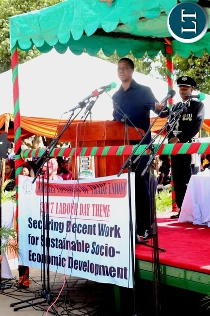 President Edgar Lungu addressing workers during 2017 Labour Day Celebration at Freedom Statue yesterday 01-05-2017. Picture by ROYD SIBAJENE/ZANIS