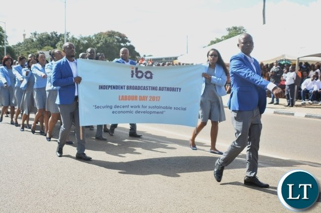 Independent Broadcasting Authority Staffs matching during the Labour Day Celebration in Lusaka yesterday,01052017.Picture by Ennie Kishiki/Zanis.
