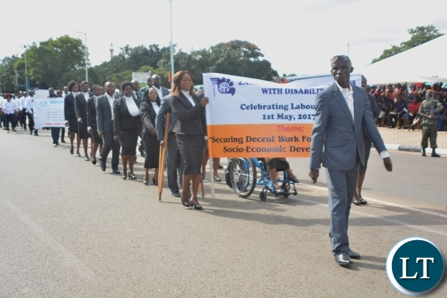 Zambia Agency for Persons with Disabilities Staffs matching during the Labour Day Celebration in Lusaka yesterday,01052017.Picture by Ennie Kishiki/Zanis.