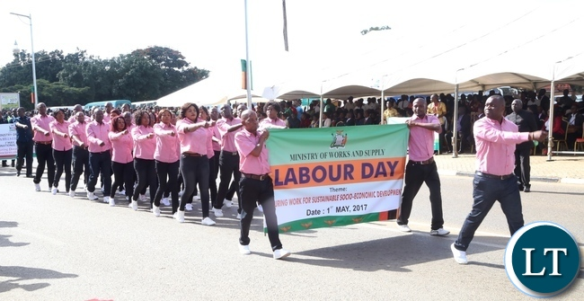 Ministry of Works and Supply workers marching during 2017 Labour Day Celebration at Freedom Statue yesterday 01-05-2017. Picture by ROYD SIBAJENE/ZANIS