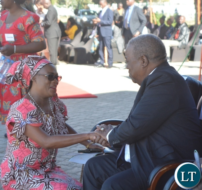 Patriotic Front Deputy Secretary General Mumbi Phiri(l) greets Fourth Republican President Rupiya Banda(r) during the Labour Day Celebration in Lusaka yesterday,01052017.Picture by Ennie Kishiki/Zanis.