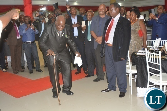 First Republican President Kenneth Kaunda dancing to celebrate his 93rd birthday during Zambia Association of Musician KK's Birthday Bash in Chongwe