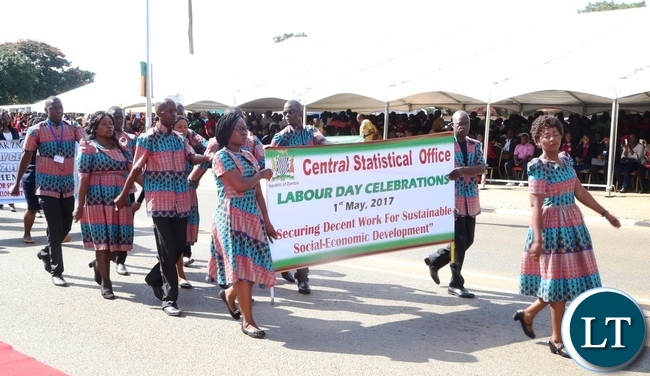 Central Statistical Office workers marching during 2017 Labour Day Celebration at Freedom Statue yesterday 01-05-2017. Picture by ROYD SIBAJENE/ZANIS
