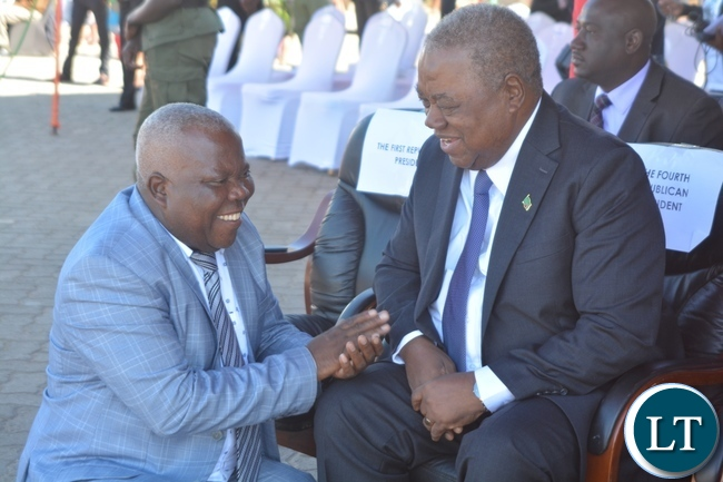 Presidential Affairs Minister Freedom Sikazwe(l) welcomes Fourth Republican President Rupiya Banda(r) during the Labour Day Celebration in Lusaka yesterday,01052017.Picture by Ennie Kishiki/Zanis.