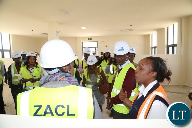 Stella Mutale Fire Office at Kenneth Kaunda International Airport showing Jounalists the Crash Aid Wing which has reached advanced stage at 90% and the construction is done by China Jianxi