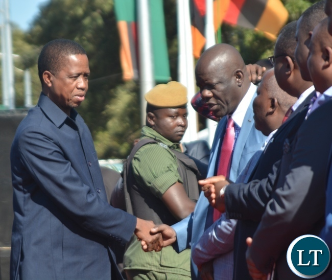 President Edgar Lungu(l) being welcomed by Patriotic Front Secretary General Davies Mwila(r) during the Labour Day Celebration in Lusaka yesterday,01052017.Picture by Ennie Kishiki/Zanis.