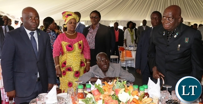 From (right) first republican President DR Kenneth Kaunda,freedom fighter Grey Zulu (seated), first lady Esther Lungu and home affairs Minister Stephen Kampyongo during Africa Freedom day at state House. Picture by SUNDAY BWALYA/ ZANIS.