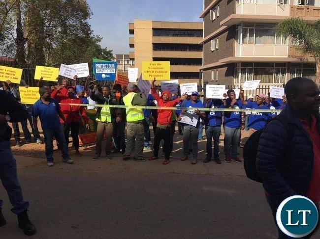 DA members protesting outside the Zambian High Commission in Pretoria