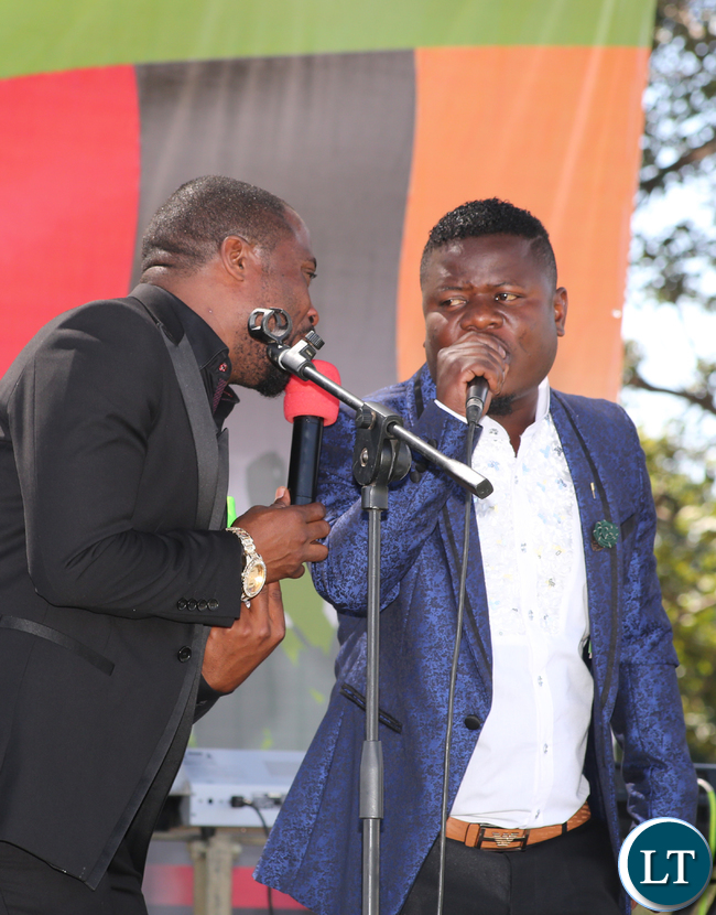 Kings Malembe and Felix Mangani Phiri on stage during the investiture ceremony to mark the 54th Africa Freedom Day commemoration at State House in Lusaka on Thursday, 25th May, 2017-Picture by Thomas Nsama.