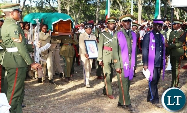 Pall Bearers carrying the casket of former freedom fighter Salome Kapwepwe during the burial ceremony in Chinsali district. Picture by SUNDAY BWALYA / ZANIS.
