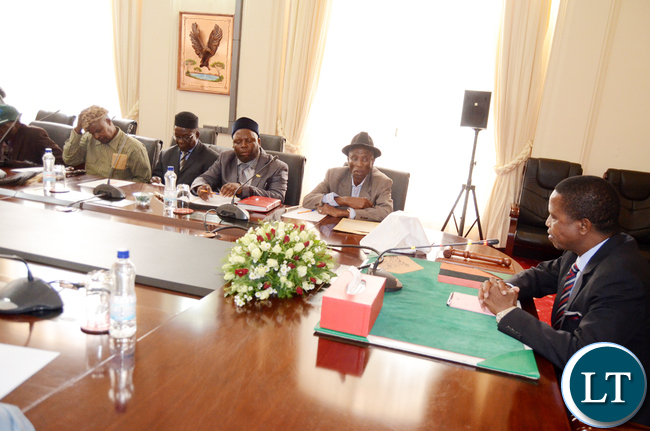 President Lungu during a meeting with Chiefs from Central Province at State House on Tuesday,May 2,2017 -Picture by THOMAS NSAMA