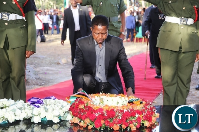 President Edgar Lungu laying a wreath at the grave of former freedom fighter Ms Salome Kapwepwe at Kasebo farm in Chinsali.Picture by SUNDAY BWALYA/ZANIS.