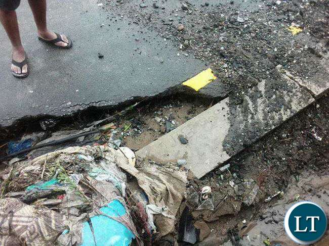 Parts of the damaged sections of the roads in Lusaka