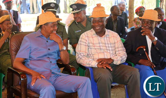 President Edgar Lungu at senior Chief Mukumbi in Kalumbila Distric