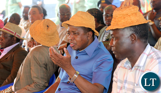 President Edgar Lungu at senior Chief Mukumbi in kalumbila District