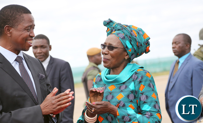 resident Lungu Chats with Vice President Inonge Wina at KK international airport 5