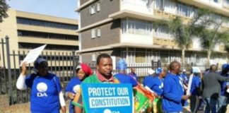 Protesting in solidarity currently camped outside the Zambian High Commission in Pretoria, South Africa