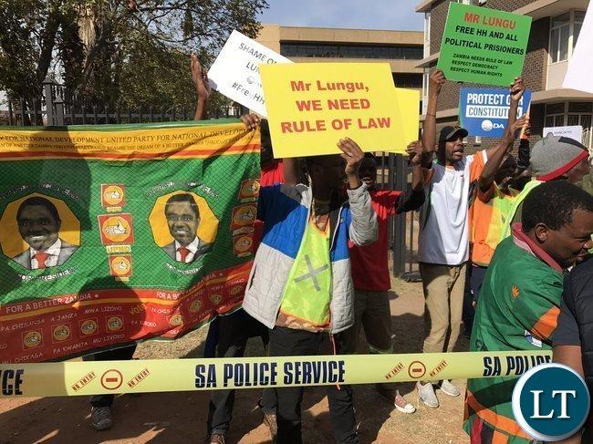 Protests outside Zambian High Commission in Pretoria