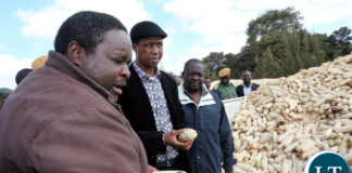 President Edgar Lungu chats with Mr Joseph Daka Maize Seed farmer of Mkushi farming Block during the Tours of Mkushi farms