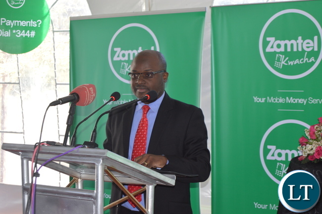 ZAMTEL Acting CEO Sydney Mupeta delivering his remarks during the launch of ZAMTEL Kwacha