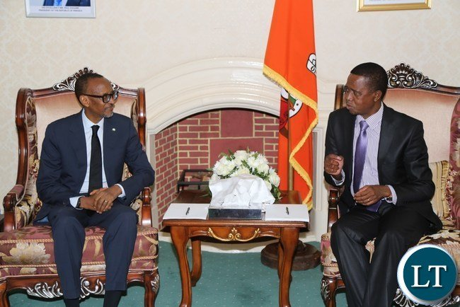 His excellency Mr Paul Kagame President of the Republic of Rwanda with President Edgar Lungu during the Bilateral Talks at State House