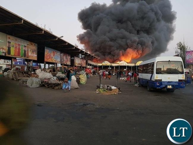 Lusaka's City Market on Fire