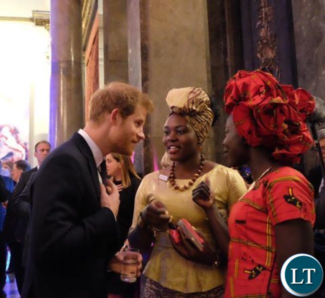 Natasha Salifyanji Kakoma showing Prince Harry her sanitary napkins