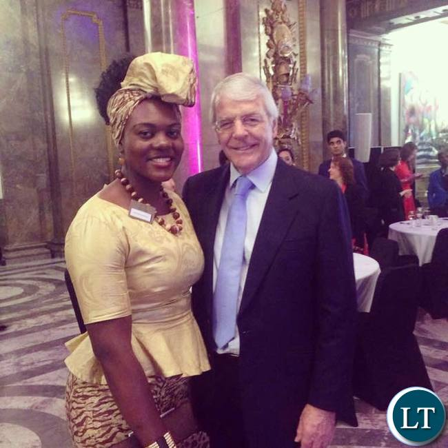 Natasha Salifyanji Kakoma with Sir John Major