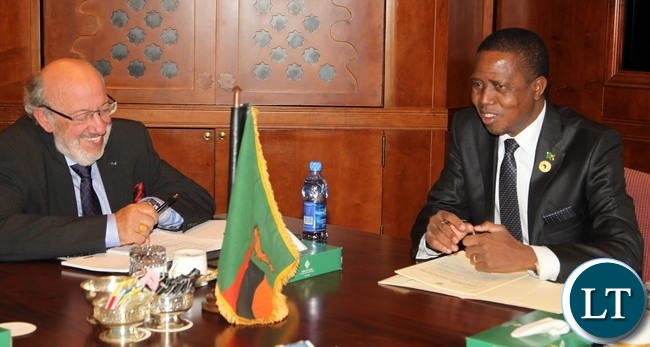 President Edgar Chagwa Lungu holds bilateral talks with European Union High Level Facilitator Mr Louis Michel at Sheraton Hotel in Addis Ababa, Ethiopia.