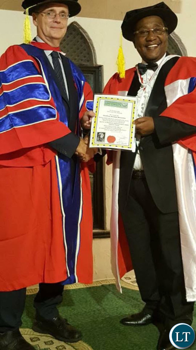 UPND Vice President Geoffrey Bwalya Mwamba receiving his doctorate
