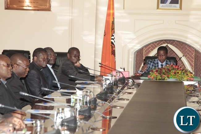 PRESIDENT Edgar Lungu with catholic Bishops, when they paid a courtesy on him in Lusaka