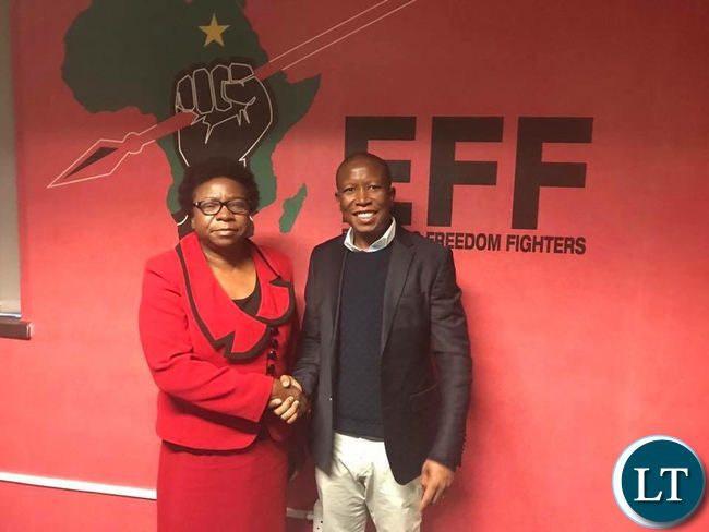 UPND Chairperson Mutale Nalumango with EFF president Julius Malema