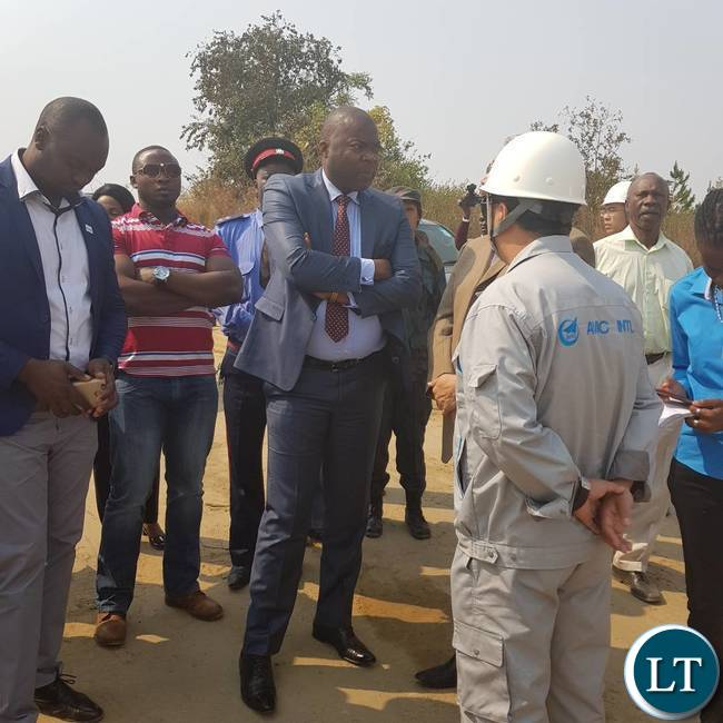 Copperbelt Minister Lusambo touring the construction site of the new Ndola International Airport
